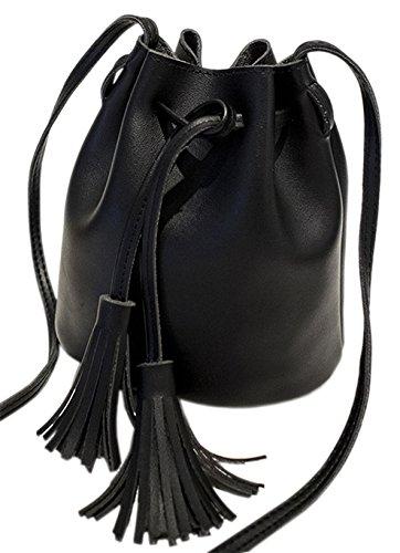 Mini Handtasche PU Leder - Umhängetasche Schultertasche mit Kordelzug, Farbe:Schwarz (Mini Handtasche Schwarze)