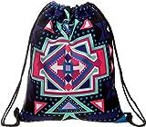 Ababalaya 3D Einhorn Gedruckt Kordelzug Rucksack Bag für Frauen Mädchen (Aztekisch Lila)