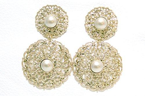 orecchini clip in filigrana con perle Swarovski platino