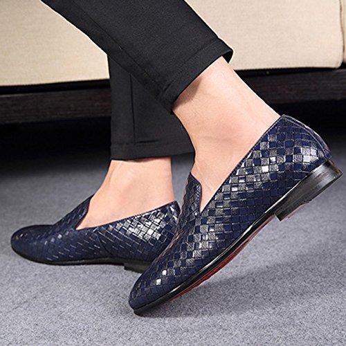 CHNHIRA Homme Chaussures Pointues en Cuir Chaussures de Loisir Chaussure Basses Baskets Mode Bleu
