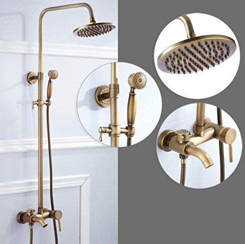 Dusche Combo Set Messing Badewanne Dusche Systeme Retro Bad Handheld Duschen einstellbare regen Duschkopf (Regen Duschkopf Badewanne Combo)
