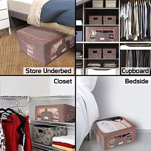 BlushBees® Living Box - Closet Organizer Cloth Storage Boxes for Wardrobe - 44 Litre, Pack of 2, English Brown