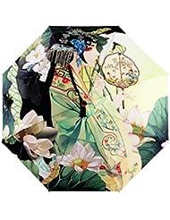 Parapluie Femme Pliant Parapluie Enfant Fille Garçon Manuel 3D Imprimé Dessin Résistant Au Vent Anti-Rayonnement multifonctionnel Léger Pratique Coloré