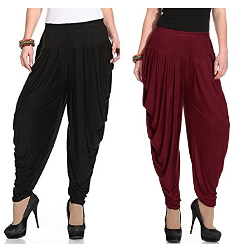 JULEE Women\'s Lycra Fabric Patiala Dhoti Combo Pack 2 Pcs (Black Maroon)