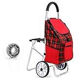 Red Shopping Grocery Faltbarer Wagen mit Sitz, Aluminium Alu Trolley für den täglichen Supermarkt Shopping