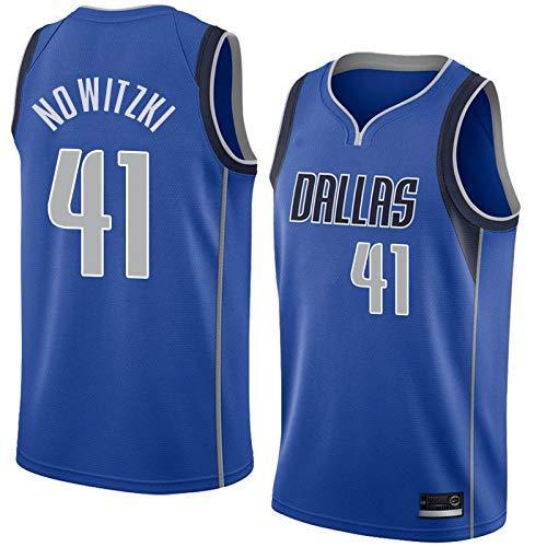 runvian Dirk Nowitzki Dallas Mavericks Jersey Basketball-Anzug Nr. 41 Basketballtrikot für Herren Männer Fans Unisex Basketballtraining Sportbekleidung (D, L)