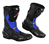 2016 Nextek New Design - Genuine Leather Motorbike Motorcycle Armoured Boots Long High Ankle Protection RASING Shoes Sports Cruising Touring | Blue & Black, UK 12/EU 46