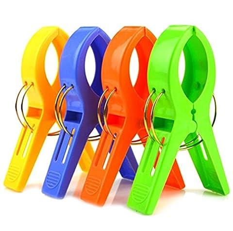 Itian Lot de 4 pinces gros plastique aux couleurs Windproof