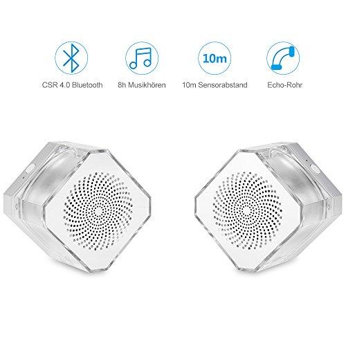 Bluetooth Lautsprecher Mini tragbar, Lautsprecher Radio mit Stimmungslicht HiFi Bluetooth Kristall Gehäuse 2 Stücke Mini Stereo Speaker mit TWS CSR Chip Echo Röhren