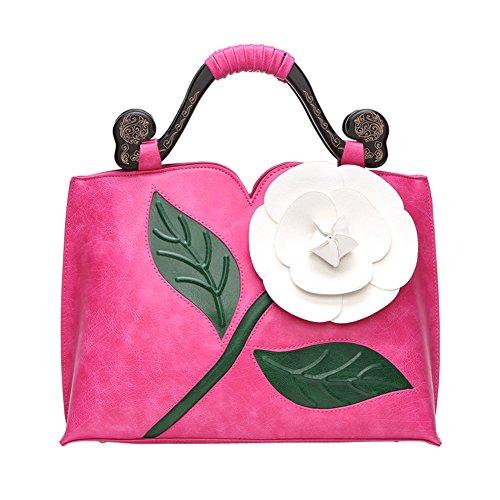 WTUS Damen Klassische Vintage Rose Dreidimensionale Große Blumen Tasche Schlug Farbe Holz Tragbare Handtaschen -Schulter-Kurier Schnitzen Beuteltote rose rot