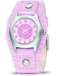 Kipling Diseño de chica con de equitación para niña reloj infantil de cuarzo con rosa esfera analógica y rosa correa de piel K9400232
