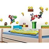 Super Mario Sticker Mural Chambre d'Enfants Autocollant Amovible Étanche