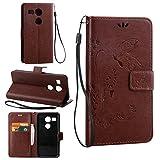 Guran® PU Ledertasche Case für LG Google Nexus 5X Smartphone Flip Cover Wallet und Stent-Funktions Hülle Geprägtes Schmetterling Muster Etui - Braun