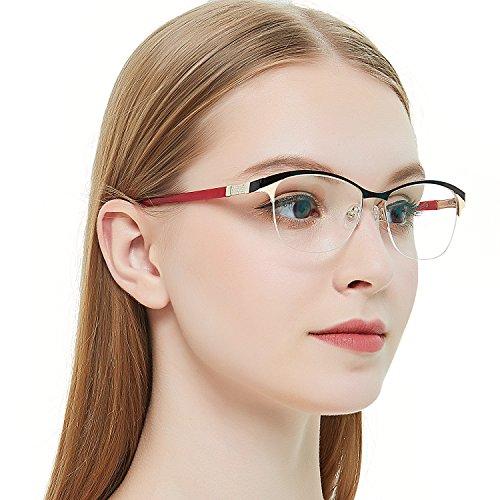 OCCI CHIARI Damen Sonnenbrille Flexible ovale Windmühle Muster Metall Dekoration Brillen Rahmen mit Federscharnier für Frauen