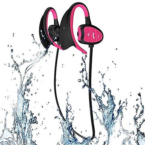 HD professionelle IPX8 High-Level wasserdichte Sport Wireless Bluetooth Headset Ohr hängen Typ laufen Kopfhörer Super Mode neue Stil Hai BH802(Rosa)