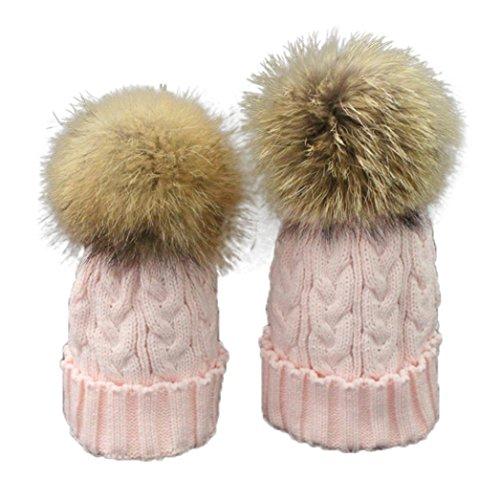 Baby Mütze Clode® Mutter und Baby Winter Häkelarbeit Hut Pelz Wolle warme Kappe Strick (Rosa)