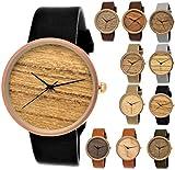 Elegante Pure Time® Designer Damen-Uhr Öko Natur Holz-Uhr Armband Uhr Analog Klassisch Quarz-Uhr Armbanduhr Schwarz Braun Beige Grau Khaki Leder-Armband Holz Ziffernblatt Rose-Gold (schwarz.)