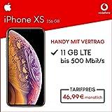 Apple iPhone XS (Gold) 256GB Speicher Handy mit Vertrag (Vodafone Smart XL) 11GB Datenvolumen 24 Monate Mindestlaufzeit