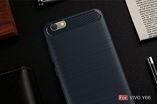 EKINHUI Case Cover Dünne und leichte, gebürstete Carbonfaser-robuste Rüstungsrückseiten-Abdeckungs-Stoßkasten-stoßfeste Tropfen-Widerstand-Shell-Abdeckung für VIVO Y66 ( Color : Gray ) Blue