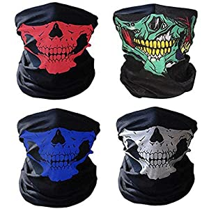 51mbjfnFYqL. SS300 ZARRS 4 Pezzi Skull Maschera Multifunzionale del Motociclo,Maschera Skull Senza Cuciture Bandana Maschera Per Bici…
