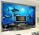 Fototapete 3D Wandtapete 3D Schönen Meer, Unterwasser Tier Hai Wandbild, Kinderzimmer Tapete Verzieren (W)350X(H)245Cm
