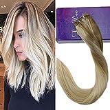 LaaVoo 35cm 100 Human Hair Bundles Lot de Tissage Peruvien Bresilien 100% Naturel Weave Remy Cheveux Cendre Blonde Balayage Blonde Moyenne Ombre Blond Platine #18/22/60