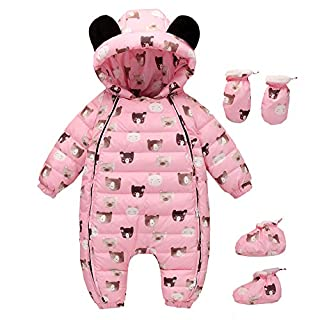 LPATTERN Newborn Baby Girls Boys Warm Rompers Winter Infant Bodysuits All in one Snowsuit Outfit One Piece Down Coat, Pink, Age 6-12 Month/Tag 80