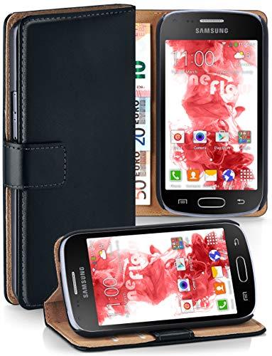 moex® Booklet mit Flip Funktion [360 Grad Voll-Schutz] für Samsung Galaxy S Duos 2   Geldfach und Kartenfach + Stand-Funktion und Magnet-Verschluss, Schwarz (Case 2 Für Samsung Handy)
