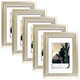 EUGAD 5er Set Bilderrahmen Fotogalerie, 9407-5, Holz Rahmen, mit Glasscheibe, mit Passepartout, Artos Silber, 10x15 cm