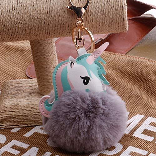 1 x Fashion Einhorn Pompon Schlüsselanhänger Kunstkaninchen Pelz Ball Licorne Schlüsselanhänger, hellgrau, Einheitsgröße