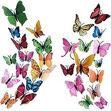 Vinilos Mariposas HO2NLE 72 Piezas 3D Pegatinas Mariposas Magnético Adhesivo Mariposas Decoracion 8 Colores Brillantes para