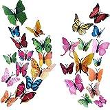 3D Wandaufkleber Schmetterling HO2NLE Wandsticker 72 Pcs Wandtattoo Wanddeko mit Klebepunkten und Magnet für kinderzimmer Spiegel Küche Schlafzimmer Wohnzimmer