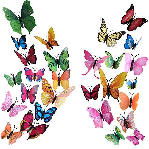 72 pz farfalle adesive daparete ho2nle 3d adesivi muro farfalle magnetico stickers murali farfalle per decorare casa pareti balcone bambini camera armadio fai da te 8 colori brillanti