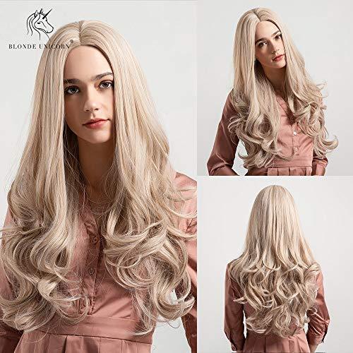 CXQBlonde Unicornio peluca sintética 26 pulgadas de largo cabello ondulado Centro peluca de despedida...