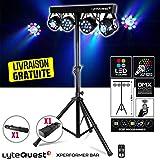 Pack X-Performer BAR LyteQuest Jeu de lumière Portique + 4 projecteurs PAR/UV/ FRIZTAL DMX - 18 programmes - 2 sacoches + Tél