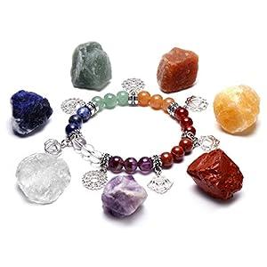 QGEM Schmuck 7 Chakra Healing Edelstein formlos Feng Shui Reiki Energietherapie Yoga Dekoration+Balance Buddha-Armband mit OM Anhänger für Damen Herren