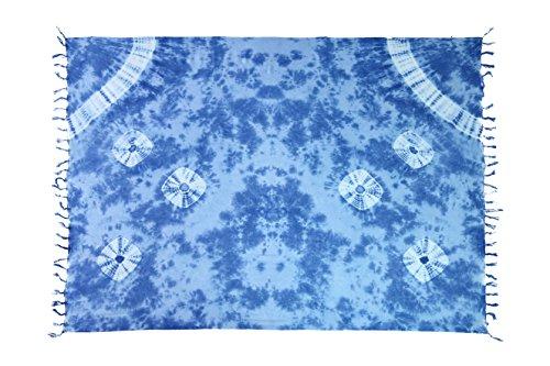 Ca 60 Modelle Sarong Pareo Wickelrock Strandtuch Tuch Wickeltuch Handtuch Bunte Sommer Muster Set + Gratis Schnalle Schließe (Dunkel Blau Batik BDP)