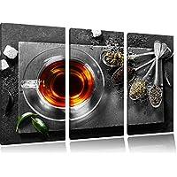 Calda a base di erbe Nero / Bianco 3 pezzi immagine immagine tela 120x80 su tela, XXL enormi immagini completamente Pagina con la barella, stampe d'arte sul murale cornice gänstiger come la pittura o un dipinto ad olio, non un manifesto o un banner, - Arancione Menta Dell'erba