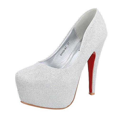 High Heel Damen-Schuhe Plateau Pfennig-/Stilettoabsatz High Heels Ital-Design Pumps Silber, Gr 39, B443S-Wt-