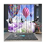 Gnzoe Polyester Duschvorhang Ballon Weiß Taube Muster Design Vorhang Waschbar für Badezimmer/Badewanne Bunt 200x180CM