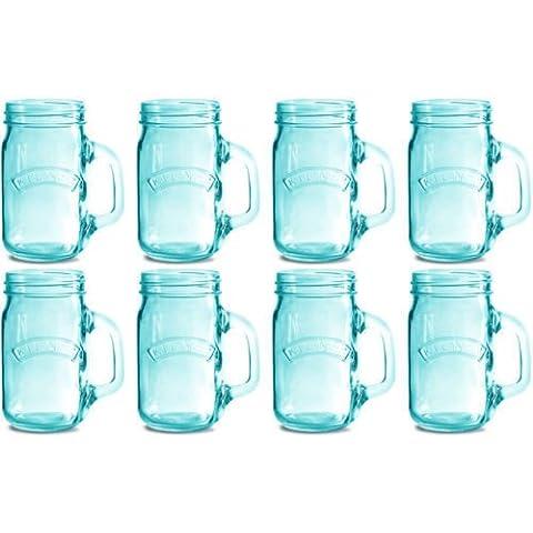 Set di 8barattoli in vetro blu con