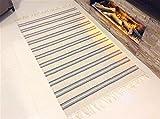 Umweltfreundlich gestreift natur Stein grau weiß handgefertigt natur Baumwolle Fair Trade wendbar & Maschinenwaschbar Fringed Flachgewebe Kelim Dhurrie Teppich Mats, 100 % Baumwolle, Stone Grey & White, Medium 90x150cm - (3'x5')