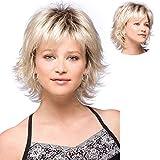 Parrucche per le donne brevi parrucche con inclinato Bangs Fluffy morbido Parrucche Biondi (564)