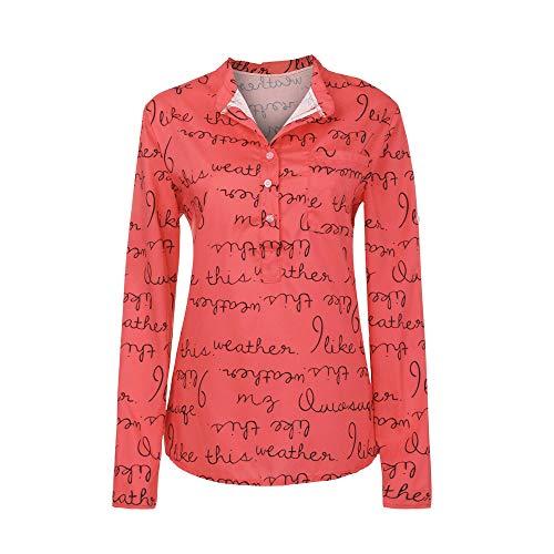 SANFASHION Damen Bluse Frauen Große Größen Outwear V-Ausschnitt Manschetten-Ärmel Locker Taste Langarm Brief Pullover Tops Shirt - T-shirt-kleid Mit Schlitzen
