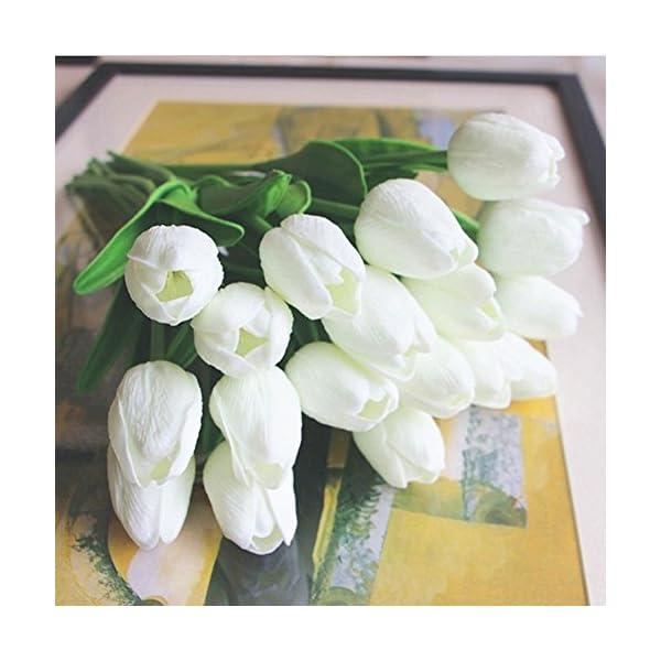 SHINE-CO Artificiales Tulipanes de Toque Realista PU 10Pcs Perfecto para la Boda Casa Oficina Fiestas (Amarillo)