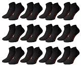 Men's Fashion Lounge® Unisex - Sneakersocken Sport Kurze Socken für Training und Freizeit mit 70% Baumwolle (43-46/12 Paar, schwarz/12 Paar)
