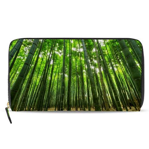 Emoya Damen Geldbörse Clutch Green Bamboo Forest Reißverschluss Wallet Kartenhalter Case Lange Damen Geldbörse