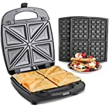 VonShef 2 In 1 Sandwich Toaster & Waffle Maker With Removable Non-Stick Plates - 920W