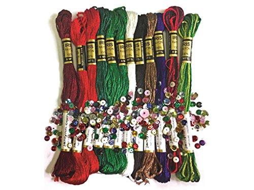Design Works Crafts zenbroidery Weihnachten Gewinde Trim Pack Stickerei-Set, Mehrfarbig (Stickerei Thread Satin)