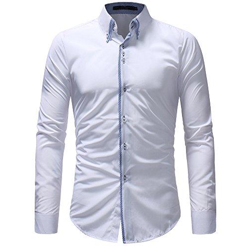 2018jyjm Herbst der Männer beiläufige Formale dünne Button-Down Langarmhemd Top Bluse Jacke Funktionsjacke Übergangsjacke Mit...